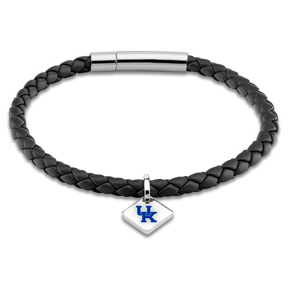 University of Kentucky Leather Bracelet with Sterling Silver Tag - Black