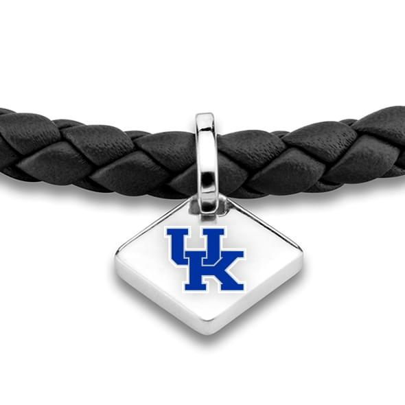 University of Kentucky Leather Bracelet with Sterling Silver Tag - Black - Image 2