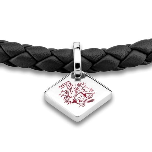 University of South Carolina Leather Bracelet with Sterling Silver Tag - Black - Image 2