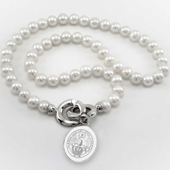 Davidson College Pearl Necklace with Sterling Silver Charm