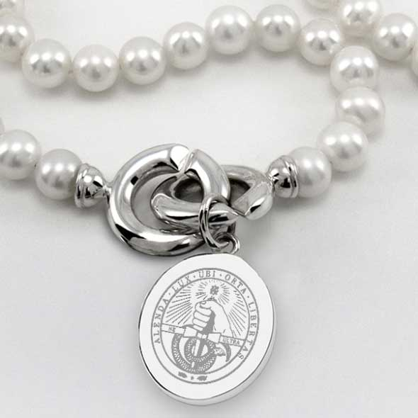 Davidson College Pearl Necklace with Sterling Silver Charm - Image 2