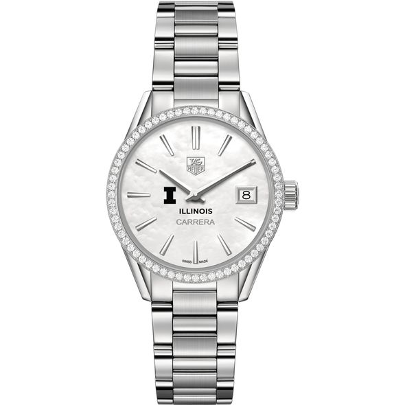 University of Illinois Women's TAG Heuer Steel Carrera with MOP Dial & Diamond Bezel - Image 2