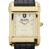 Elon Men's Gold Quad with Leather Strap