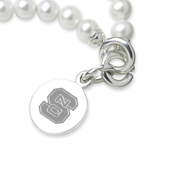 NC State Pearl Bracelet with Sterling Silver Charm - Image 2