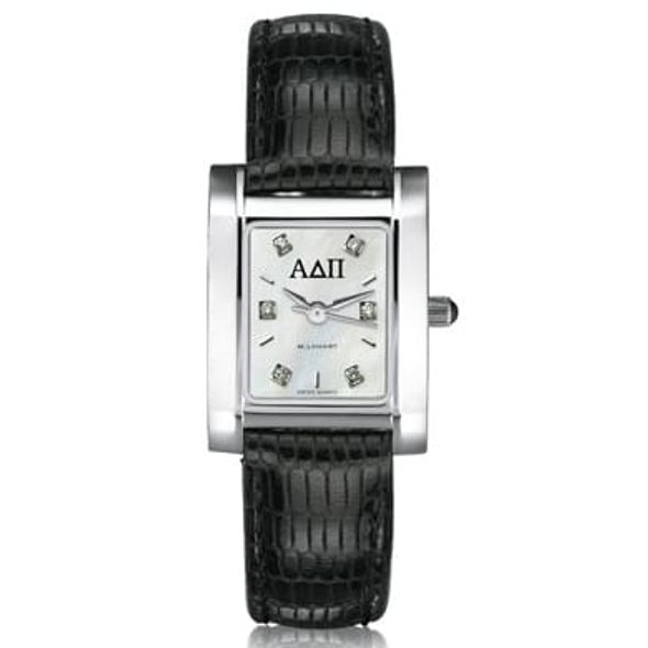 ADPi Women's Mother of Pearl Quad Watch with Diamonds & Leather Strap