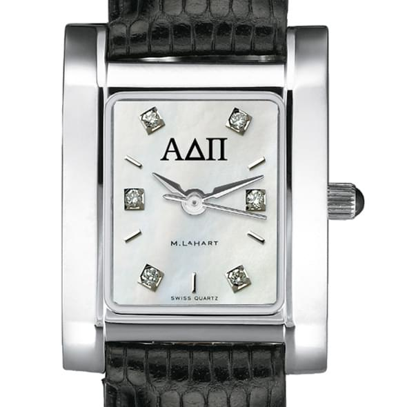 ADPi Women's Mother of Pearl Quad Watch with Diamonds & Leather Strap - Image 2