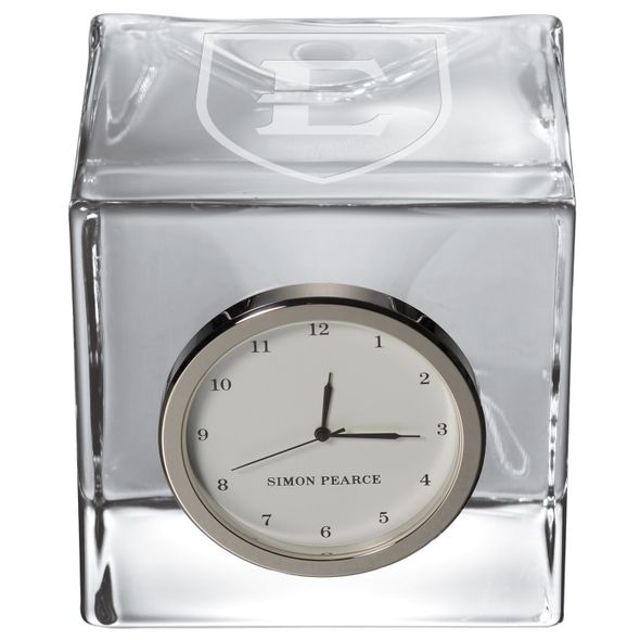 East Tennessee State University Glass Desk Clock by Simon Pearce - Image 2