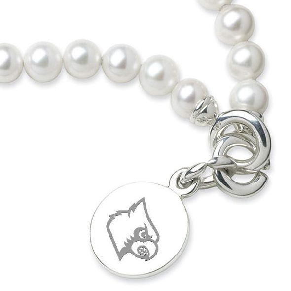 University of Louisville Pearl Bracelet with Sterling Silver Charm - Image 2