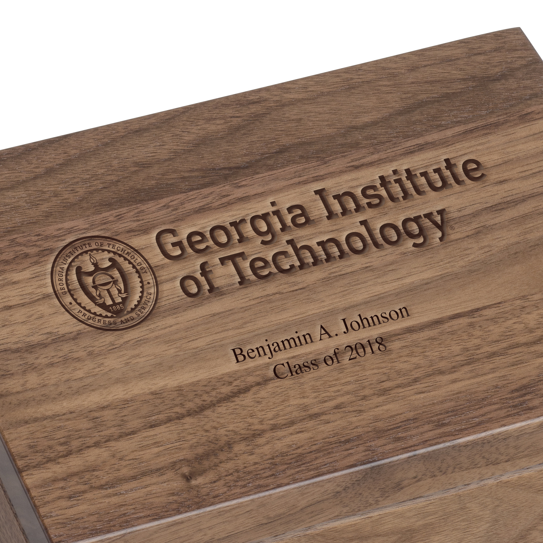Georgia Tech Solid Walnut Desk Box - Image 2