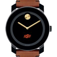 Oklahoma State University Men's Movado BOLD with Brown Leather Strap