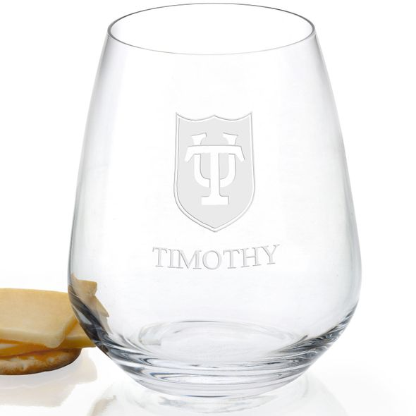 Tulane University Stemless Wine Glasses - Set of 2 - Image 2