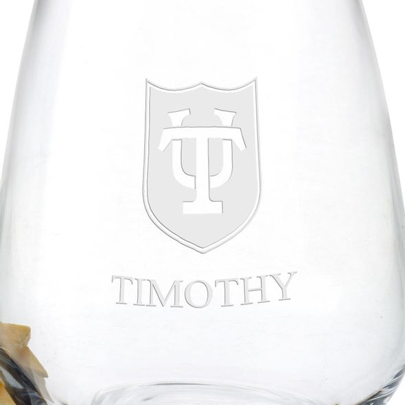 Tulane University Stemless Wine Glasses - Set of 2 - Image 3