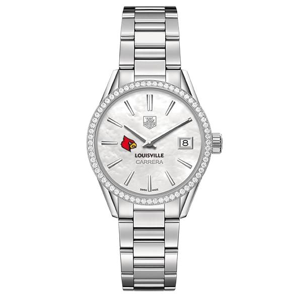 University of Louisville Women's TAG Heuer Steel Carrera with MOP Dial & Diamond Bezel - Image 2