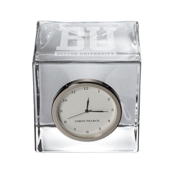 Boston University Glass Desk Clock by Simon Pearce