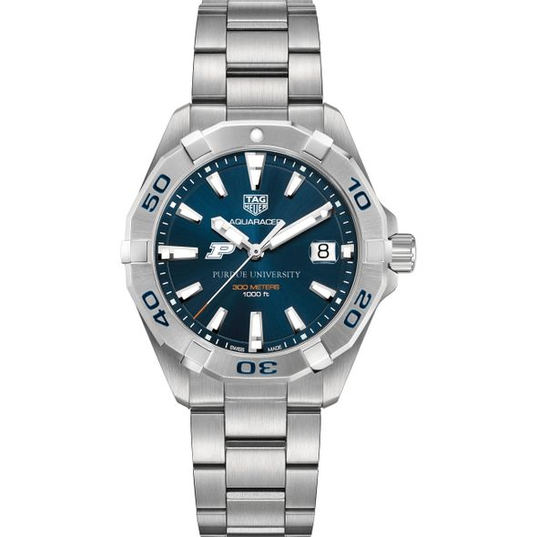 Purdue University Men's TAG Heuer Steel Aquaracer with Blue Dial - Image 2