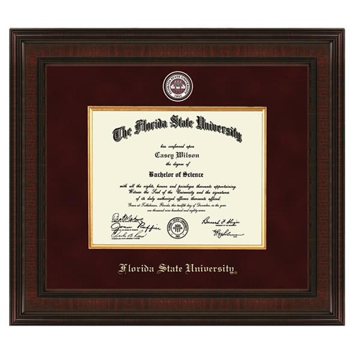 Florida State University Diploma Frame Excelsior