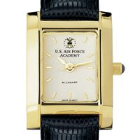 USAFA Women's Gold Quad Watch with Leather Strap