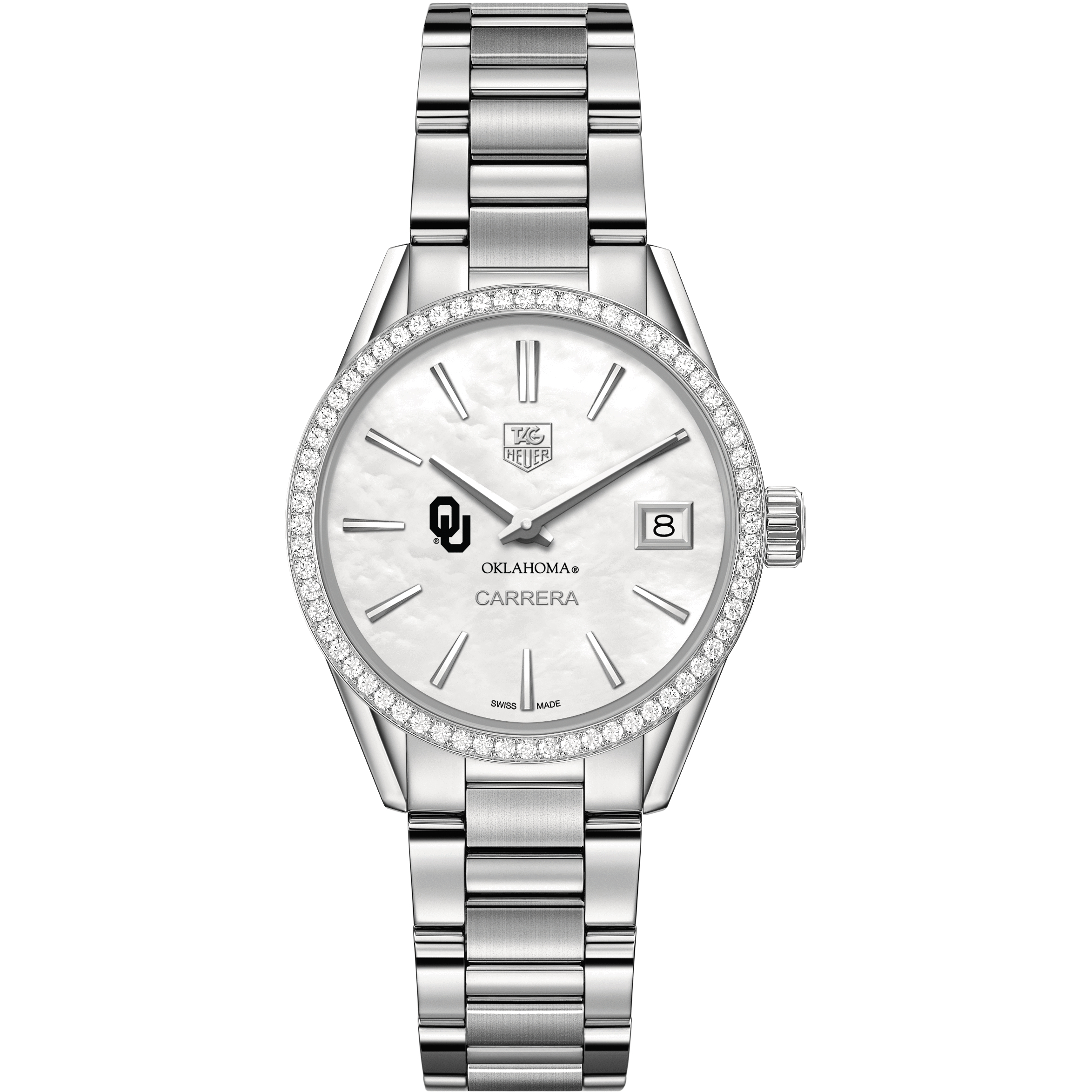 Oklahoma Women's TAG Heuer Steel Carrera with MOP Dial & Diamond Bezel - Image 2