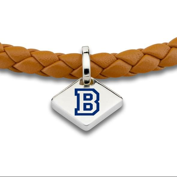 Bucknell Leather Bracelet with Sterling Silver Tag - Saddle - Image 2