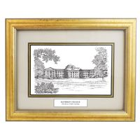 Davidson College Black Ink Gold Frame