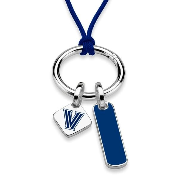 Villanova University Silk Necklace with Enamel Charm & Sterling Silver Tag - Image 1