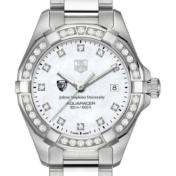 Johns Hopkins Women's TAG Heuer Steel Aquaracer with MOP Diamond Dial & Diamond Bezel - Image 1