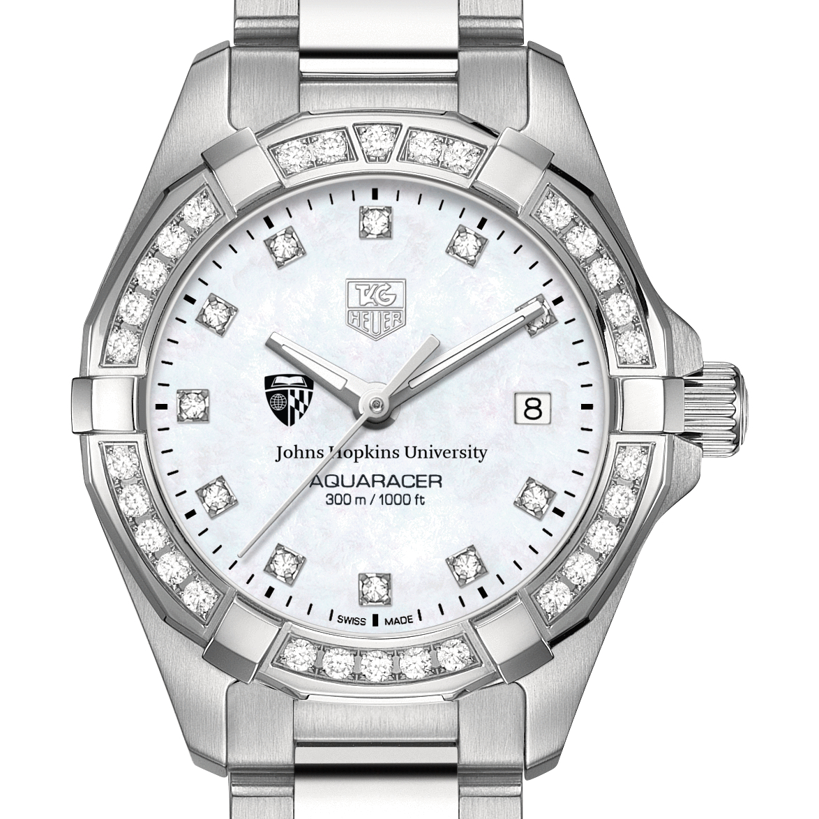 Johns Hopkins Women's TAG Heuer Steel Aquaracer with MOP Diamond Dial & Diamond Bezel
