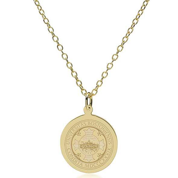Boston University 14K Gold Pendant & Chain - Image 2