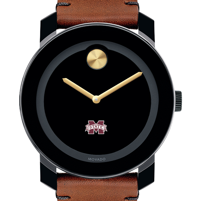 Mississippi State Men's Movado BOLD with Brown Leather Strap