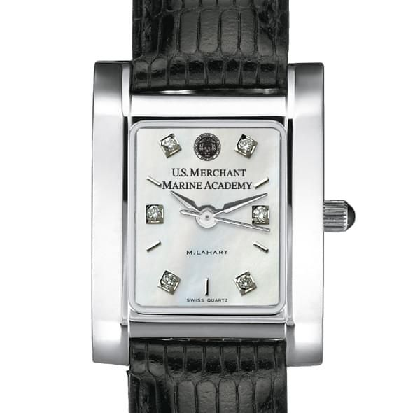 USMMA Women's Mother of Pearl Quad Watch with Diamonds & Leather Strap - Image 1