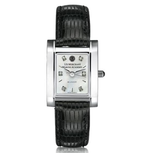 USMMA Women's Mother of Pearl Quad Watch with Diamonds & Leather Strap - Image 2