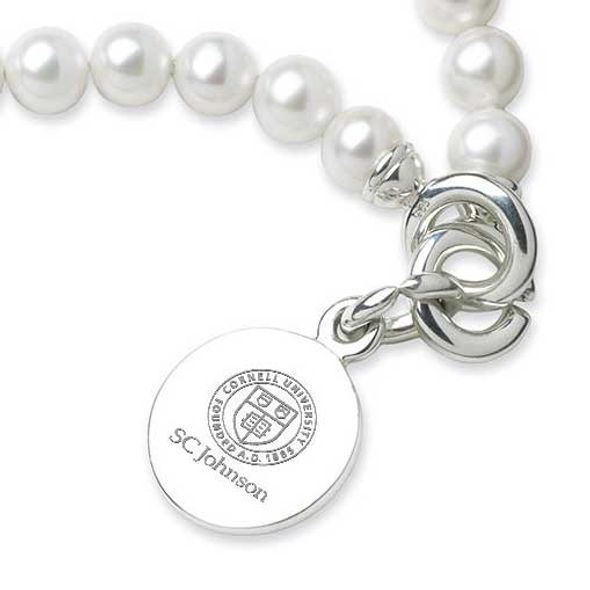 SC Johnson College Pearl Bracelet with Sterling Silver Charm - Image 2