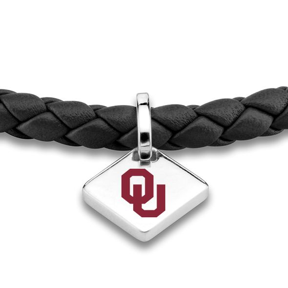 Oklahoma Leather Bracelet with Sterling Silver Tag - Black - Image 2