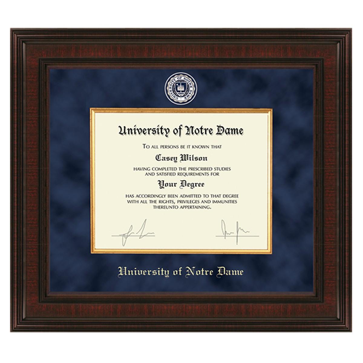 University Of Notre Dame Diploma Frame Excelsior