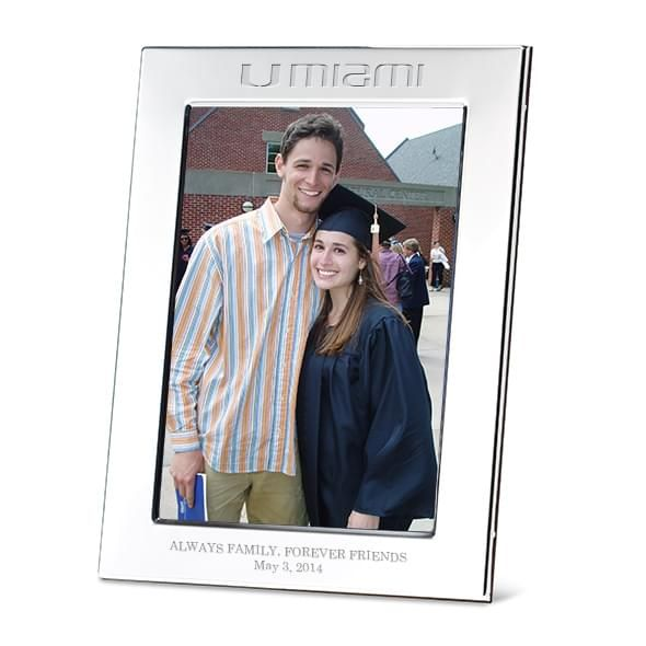 University of Miami Polished Pewter 5x7 Picture Frame - Image 1