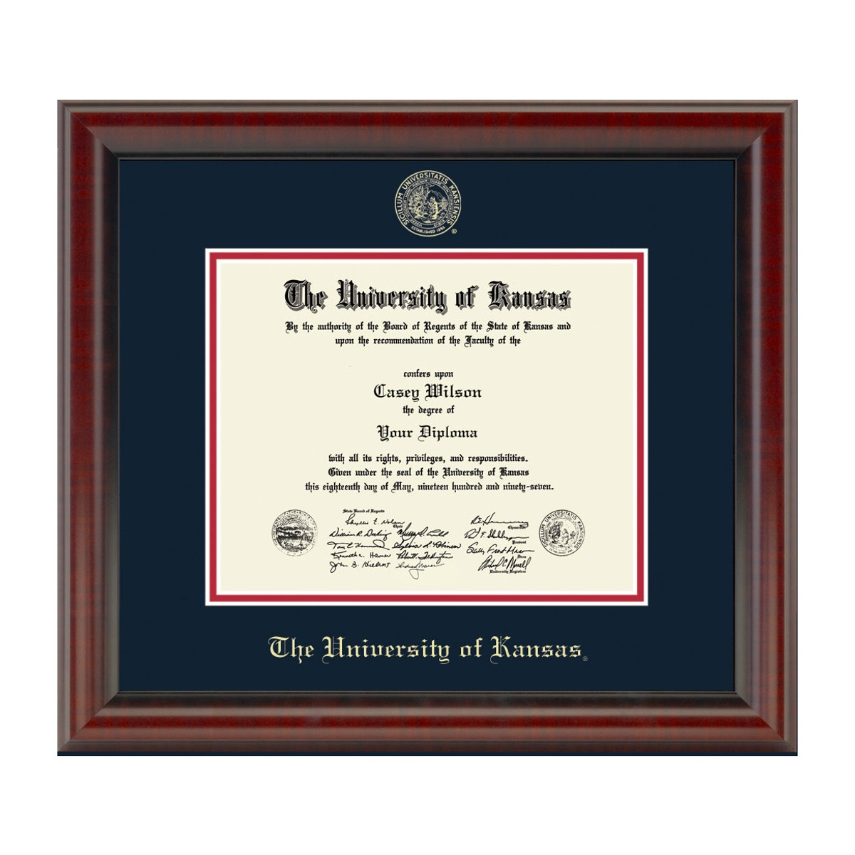 Official University Of Kansas Phd Diploma Frame The