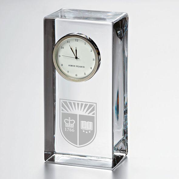 Rutgers University Tall Glass Desk Clock by Simon Pearce