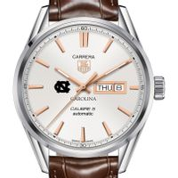 University of North Carolina Men's TAG Heuer Day/Date Carrera with Silver Dial & Strap