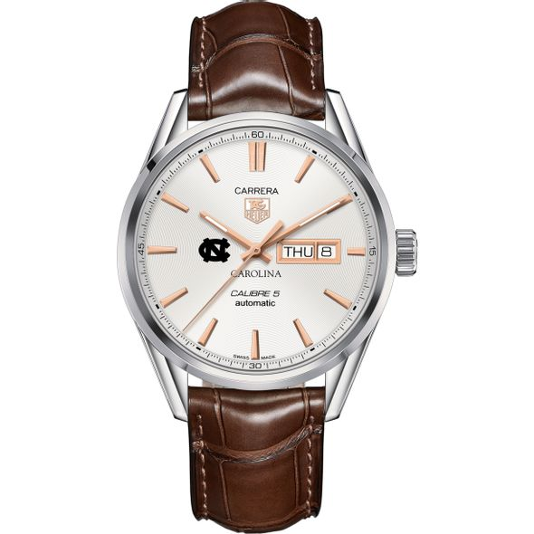 University of North Carolina Men's TAG Heuer Day/Date Carrera with Silver Dial & Strap - Image 2