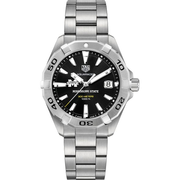 Mississippi State Men's TAG Heuer Steel Aquaracer with Black Dial - Image 2