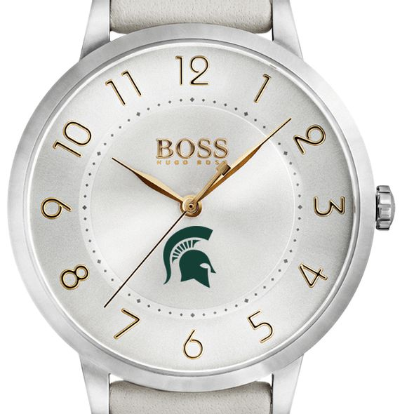Michigan State University Women's BOSS White Leather from M.LaHart