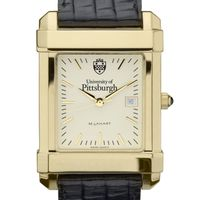 Pittsburgh Men's Gold Quad Watch with Leather Strap