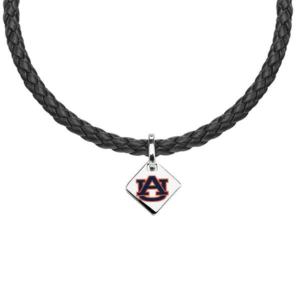 Auburn University Leather Necklace with Sterling Silver Tag