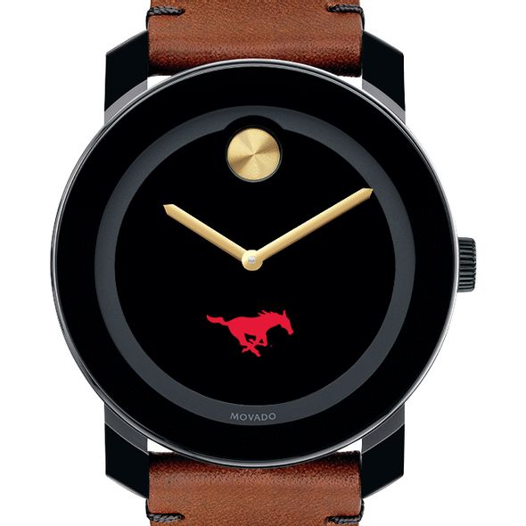 Southern Methodist University Men's Movado BOLD with Brown Leather Strap