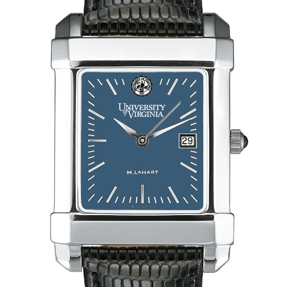 UVA Men's Blue Quad Watch with Leather Strap