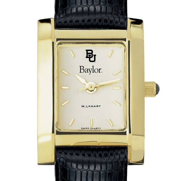 Baylor Women's Gold Quad with Leather Strap