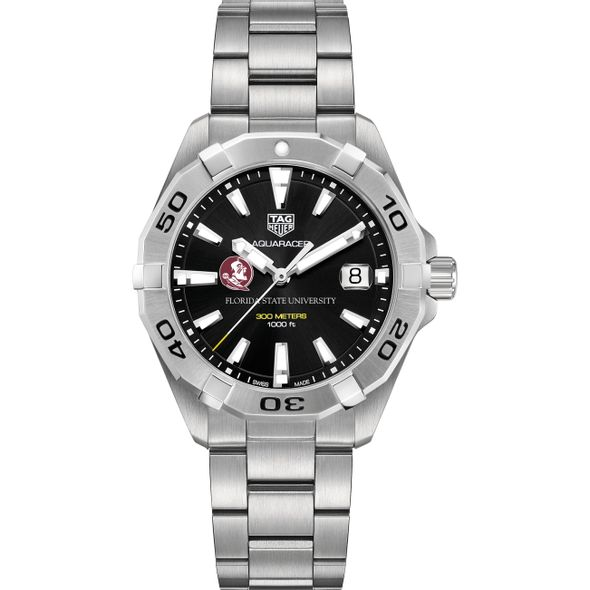Florida State University Men's TAG Heuer Steel Aquaracer with Black Dial - Image 2
