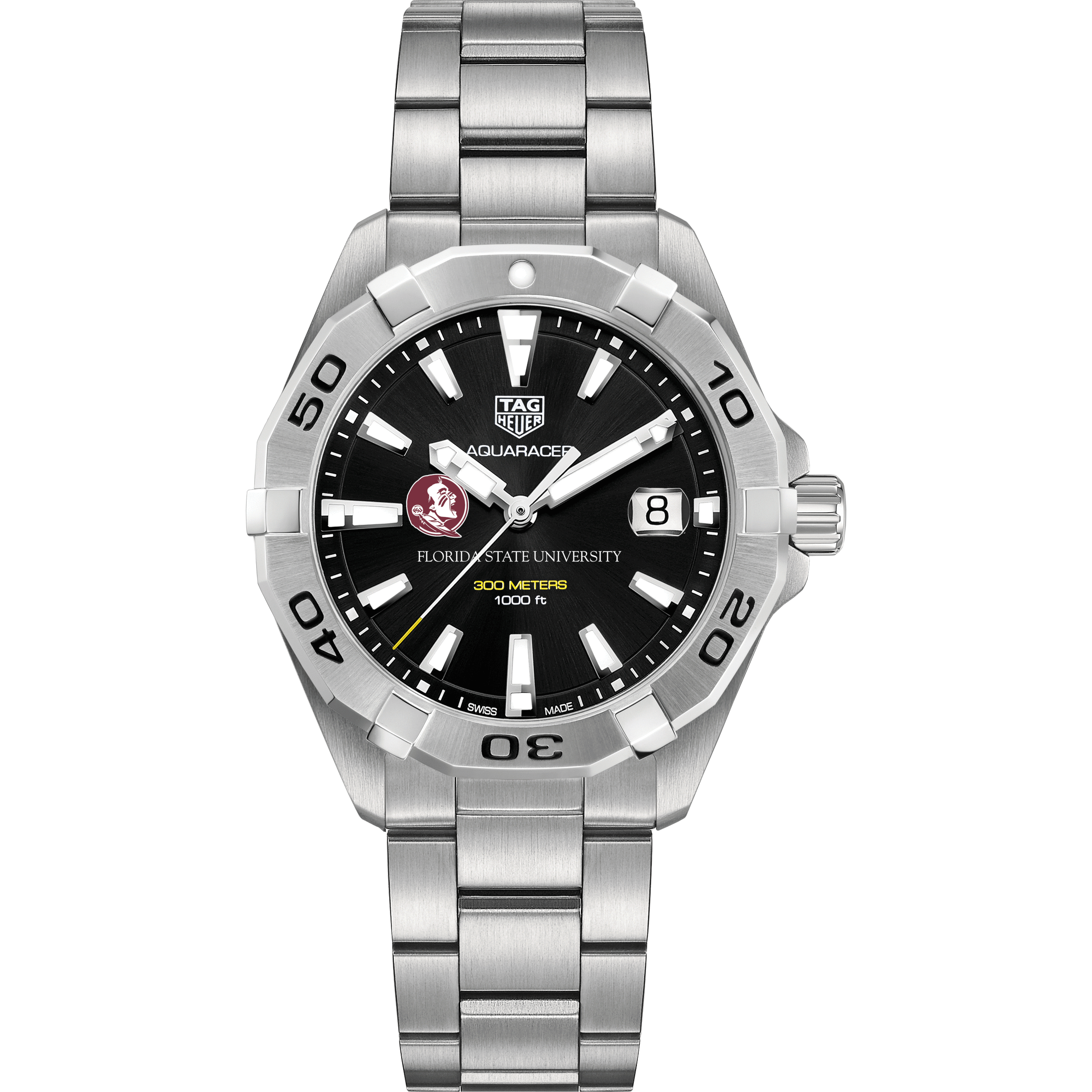 Florida State Men's TAG Heuer Steel Aquaracer with Black Dial - Image 2