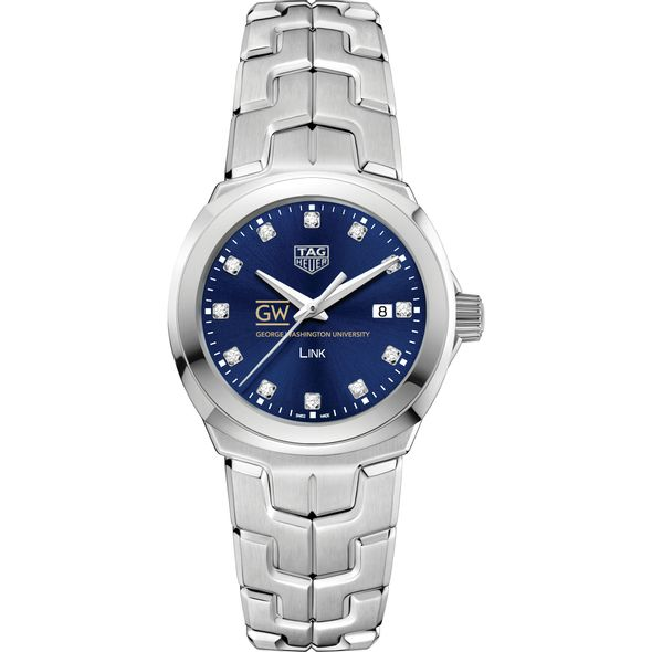 George Washington University Women's TAG Heuer Link with Blue Diamond Dial - Image 2