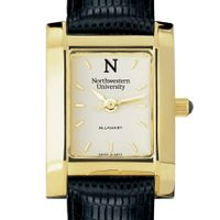 Northwestern Women's Gold Quad Watch with Leather Strap